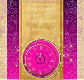 Szczęśliwego nowego roku i Wesoło bożych narodzeń tło z zegarem Obraz Stock