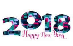 2018 Szczęśliwego nowego roku jaskrawych tło element dla prezentacj, ulotek, ulotek, pocztówek i plakatów, Trend w projekcie wekt Fotografia Stock