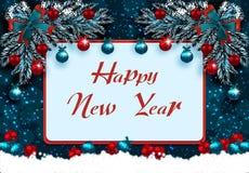 szczęśliwego nowego roku, Kartka z pozdrowieniami z dekoracjami na błękitnym śniegu i choince Narożnikowy rysunek ilustracja ilustracja wektor