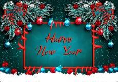 szczęśliwego nowego roku, Kartka z pozdrowieniami z dekoracjami na zielonym śniegu i choince Piłki z wzorem, faborki ilustracji