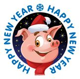 szczęśliwego nowego roku karty Śmieszna świnia jako symbole nowy rok 2019 royalty ilustracja