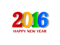 2016 Szczęśliwego nowego roku kolorowych projektów nad białym tłem Zdjęcie Stock