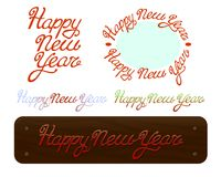 Szczęśliwego nowego roku muśnięcia literowania handdrawn tekst na białym tle Obraz Royalty Free