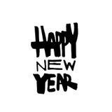 szczęśliwego nowego roku, Nowożytna kaligrafia i muśnięcia literowanie Obrazy Stock