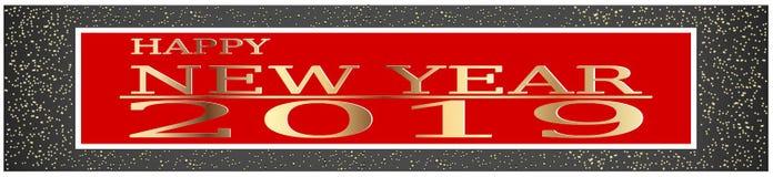 Szczęśliwego nowego roku powitania odpryśnięcia pyłu wektoru 2019 Złota błyskotliwa ilustracja royalty ilustracja