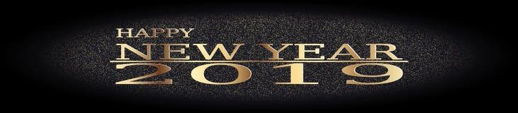 Szczęśliwego nowego roku powitania odpryśnięcia 2019 Złoty błyskotliwy pył na czerni z złotą tekst ilustracją ilustracja wektor