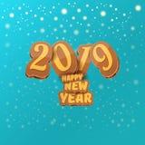2019 Szczęśliwego nowego roku projekta kreatywnie kartek z pozdrowieniami z, tło lub szczęśliwego nowego roku, royalty ilustracja