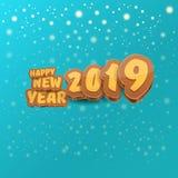 2019 Szczęśliwego nowego roku projekta kreatywnie kartek z pozdrowieniami z, tło lub szczęśliwego nowego roku, ilustracja wektor