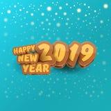 2019 Szczęśliwego nowego roku projekta kreatywnie kartek z pozdrowieniami z, tło lub szczęśliwego nowego roku, ilustracji