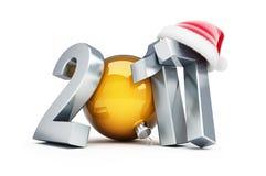 Szczęśliwego nowego roku Santa 2016 kapeluszowe 3d ilustracje ilustracji