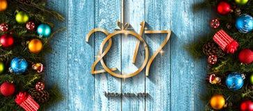 2017 Szczęśliwego nowego roku sezonowych tło z Bożenarodzeniowymi baubles Fotografia Stock