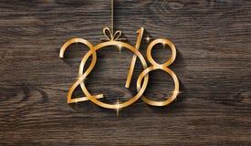 2018 Szczęśliwego nowego roku sezonowych tło z istną drewno zieleni sosną Zdjęcie Stock