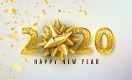 2020 Szczęśliwego nowego roku wektorowych tło z złotym prezenta łękiem, confetti, błyszczące błyskotliwości złota liczby Bo?e Nar ilustracji