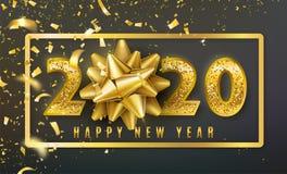 2020 Szczęśliwego nowego roku wektorowych tło z złotym prezenta łękiem, confetti, błyszczącymi błyskotliwości złota liczbami i gr ilustracja wektor