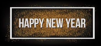 szczęśliwego nowego roku, Złocista błyskotliwość 2019 Ciemny tło dla ulotki, plakat, znak, sztandar, sieć, chodnikowiec ilustracji