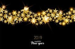 Szczęśliwego nowego roku złota dekoraci 2019 gwiazdowa karta royalty ilustracja