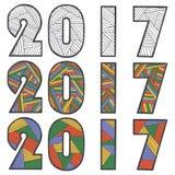 szczęśliwego nowego roku, Zen gmatwanina i zen doodle tekst 2017 wektor Dekoracyjny karciany szablon Obrazy Stock