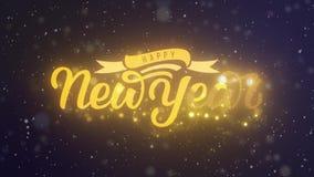 Szczęśliwego nowy rok ręki literowania 2D animacja Złoci listy z faborku i dekoracji festonem Tło z spadać zbiory