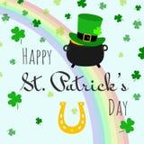 Szczęśliwego St Patrick dnia świętowania pocztówkowa wektorowa ilustracja ilustracja wektor