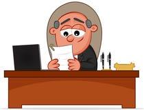 Szczęśliwego szefa mężczyzna Przyglądający papier Obrazy Stock