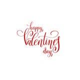 Szczęśliwego valentines dnia ręcznie pisany czerwonego literowania loga wakacyjny desi Fotografia Royalty Free