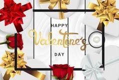 Szczęśliwego valentines dnia sztandaru realistycznego mieszkania nieatutowy odgórny widok royalty ilustracja