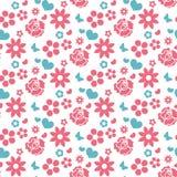 Szczęśliwego walentynki ` s dnia bezszwowy wzór Ślicznej romantycznej miłości niekończący się tło Serce, kwiaty powtarza teksturę Zdjęcie Royalty Free