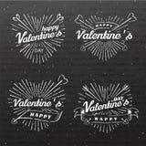 Szczęśliwego walentynki s dnia rocznika wektorowa ilustracja Set znaki z słońce strzała i promieniami Znaczki przylepiają etykiet Obraz Royalty Free