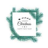 szczęśliwego wesoło nowego roku karciani boże narodzenia Biała etykietka z tekstem dekoruje jedlinowymi gałąź również zwrócić cor ilustracja wektor