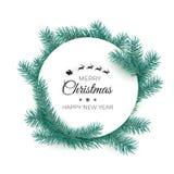 szczęśliwego wesoło nowego roku karciani boże narodzenia Round biała etykietka z jedlinowymi gałąź również zwrócić corel ilustrac ilustracji