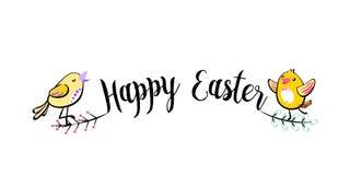 Szczęśliwego Wielkanocnego powitania teksta ręcznie pisany tło z ślicznymi śpiewackimi kurczątkami, liście Wektorowa ilustracja w ilustracji
