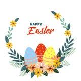 Szczęśliwego Wielkanocnego wektorowego rocznika wakacyjny kwiecisty tło Zdjęcia Royalty Free