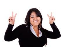 szczęśliwego wielkiego latin nastroszona kciuków kobieta zdjęcia royalty free