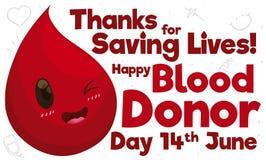 Szczęśliwej Czerwonej kropli odświętności Krwionośnego dawcy Światowy dzień, Wektorowa ilustracja royalty ilustracja