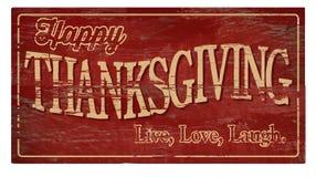 Szczęśliwej dziękczynienie Drewnianej plakiety miłości Żywy śmiech fotografia royalty free