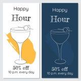 Szczęśliwej godziny dwa minimalistic broszurki Zdjęcie Royalty Free