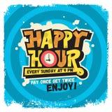 Szczęśliwej godziny etykietki znaka projekta literowania Śmieszni Chłodno Komiczni graffiti Zdjęcie Royalty Free