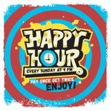 Szczęśliwej godziny etykietki znaka projekta literowania Śmieszni Chłodno Komiczni graffiti Obraz Royalty Free