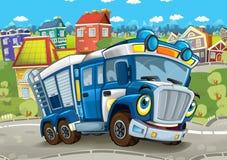 Szczęśliwej i śmiesznej kreskówki policji ciężarówki jeżdżenie przez przyglądający, uśmiechnięty i budowy lub miasta ilustracji