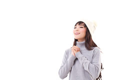 Szczęśliwej kobiety cieszy się zima Fotografia Stock