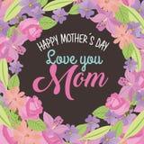 Szczęśliwej matka dnia miłości mamy round granica kwitnie liść naturalną dekorację Zdjęcia Stock