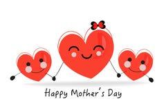 szczęśliwej matki karciany dzień s Trzymać śmiesznego serce wektoru tło Fotografia Royalty Free