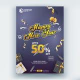 Szczęśliwej nowego roku 50% sprzedaży ulotki szablonu Plakatowy Wektorowy projekt ilustracja wektor