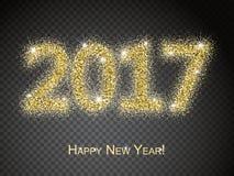2017 Szczęśliwej nowy rok karty Odosobnionych Przejrzystych Specjalnych skutków Zdjęcie Stock