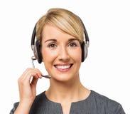 Szczęśliwej obsługi klienta Przedstawicielska Jest ubranym słuchawki Zdjęcie Royalty Free