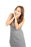 Szczęśliwej reakci kobiety niespodzianki wiadomości Azjatycka połówka fotografia royalty free
