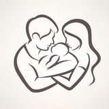 Szczęśliwej rodziny stylizowany wektorowy symbol ilustracji