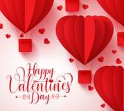 Szczęśliwej valentines dnia typografii wektorowy projekt z papieru rżniętym czerwonym sercem royalty ilustracja