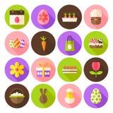 Szczęśliwej wiosny okręgu Wielkanocne ikony Ustawiać z długim cieniem Zdjęcie Stock