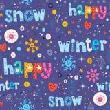 Szczęśliwej zimy śnieżny bezszwowy wzór Zdjęcia Stock